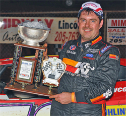 Ice Bowl Trophy win for Super Late Model Racer Ray Cook, courtesy of Thomas Hendrickson Photos
