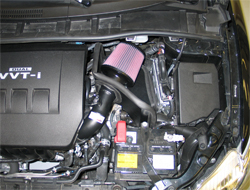 K&N performance air intake system 69-8757TTK installed on a Toyota Corolla at K&N headquarters in Riverside, California
