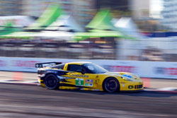In a hard fought battle on the streets of Long Beach, California, Corvette Racing's Oliver Gavin and Jan Magnussen drove to second place finish in GT class.