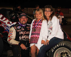 Kruseman celebrates his latest victory with his biggest fans, his daughter and wife.