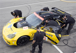 No.3 Compuware Corvette C6.R took second place in its first GT2 Race, photo by GM Corp.