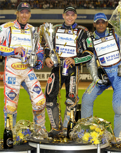 Australian Jason Crump on left, Russian teen Emil Sayfutdinov in center and Sweden's Andreas Jonsson on right after Swedish Grand Prix, photo by Mike Patrick