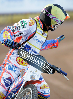 Australian Grand Prix World Champion Jason Crump not sure of the extent of his injuries after Swedish Grand Prix, photo by Mike Patrick