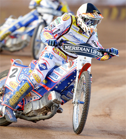 Jason Crump is the points leader in the 2009 World Series Grand Prix, photo by Mike Patrick