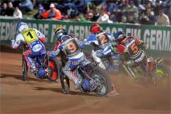 Jason Crump leads the pack, photo by Mike Patrick