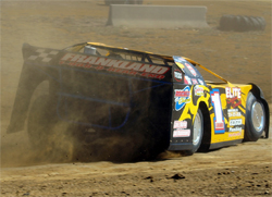 Dane Laraway drives is Dirt Super Late Model on the track with its 800 horsepower engine