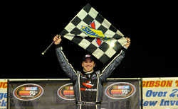Daniel Suarez celebrates his NASCAR K&N Pro Series East win