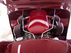 1938 Ford Street Rod under the hood