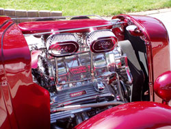 1938 Ford Street Rod with Chevrolet 350 engine with a 671 Weiand blower