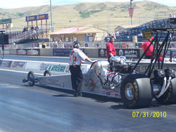 Oenes Motorsports drove their alcohol burning dragster straight into victory lane.