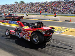 David Rampy drives a Bantam dragster in the extremely competitive NHRA Competition Eliminator class