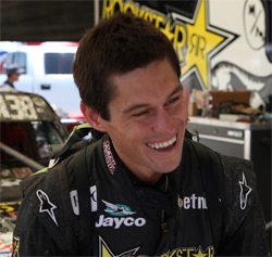 Metal Mulisha's bad boy Brian Deegan shares a laugh in the pits at the Lake Elsinore Motorsports Complex in California
