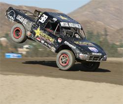 Brian Deegan took first place in his class in the Lucas Oil Off Road Series at Lake Elsinore, California