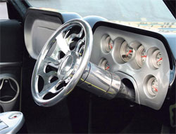 Custom built dash modeled after designs from the early 1960s on 1971 Chevy S10