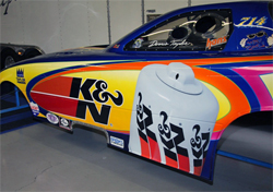 Dennis Taylor's Top Alcohol Funny Car is equipped with an Alan Johnson Performance Engineering 523 CI Hemi Engine and K&N products