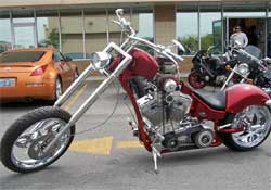 Full view of black cherry candy custom Chopper.