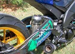2008 Kawasaki ZX-10 is hydrogen gasoline hybrid custom designed by Derby City Customs