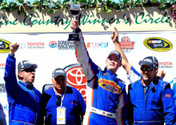 Derek Thorn toasts his K&N Pro Series West victory at Sonoma Raceway.