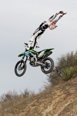 Cantrell practicing a Cliffhanger at his Southern California training grounds.