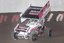 "Dominic ""The Dominator"" Scelzi won his first career King of the West event at Stockton-99 Speedway."