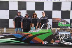 The Gatlin Motorsports crew from left to right: Greg Tremain (fellow racer and crew), Don Gatlin, Dora Gatlin (Wife and crew chief), Christie Chambless (daughter), and the little guy is Samuel Chambless (Grandson).