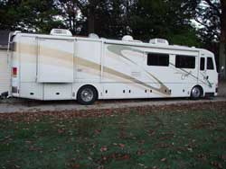 Strassweg uses his American Eagle motorhome to tow Don Gatlin's dragster when he's racing the Midwest big-dollar races.