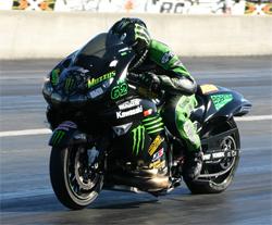 Kawasaki superstar Rickey Gadson won Dragbike.com Supersport on ZX14 at South Georgia Motorsports Park
