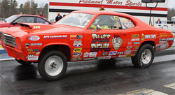 1974 Plymouth Duster piloted by bracket race winner Jacob Rutedge