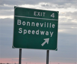 he Bonneville Speedway is on the Salt Flats along I-80 in Utah near the Nevada border