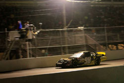 Dylan Kwasniewski takes the checkered flag at Langley Speedway in Hampton, Virginia