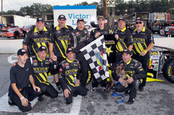 Dylan Kwasniewski and his team in Victory Lane after the NASCAR K&N Pro Series East race at Greenville Pickens Speedway.