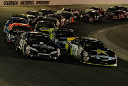 Kwasniewski leads the K&N Pro Series West race at Colorado National Speedway.
