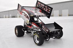 Meyers hopes the new look will help in defending his 2010 World of Outlaws title. Photo of Sprint Car in Indiana, CA