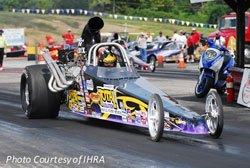 Tony Elrod launches his Top Dragster during day number one of the IHRA Div 3 event at Mountain Park Dragway.