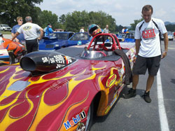 Jacob Elrod ponders his next move during IHRA Super Rod Eliminations in Clay City, KY.