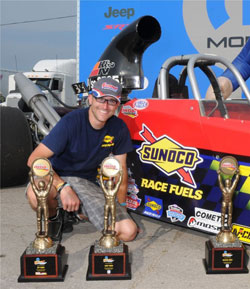 All in a weekend's work for Jacob Elrod surrounded by his Hot Rod, Quick Rod and Over All E.T. Event Champion IHRA Ironman collection.