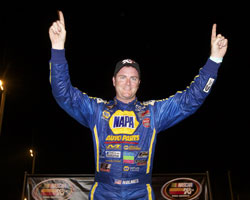 Eric Holmes could not be more excited to pull off a NASCAR Pro Series win at Evergreen Speedway