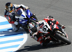 Factory Aprilia RSV1000R Rider Chaz Davies scores first podium of the year at Laguna Seca
