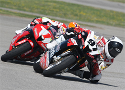 Aprilia RSV1000R riders Chaz Davis and Ben Thompson in AMA Daytona SportBike Competition