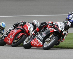 Factory Aprilia Millennium Technologies Team Riders at Auto Club Speedway in Fontana, California