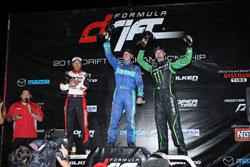 Falken Tire podium sweep at Formula Drift Round 5. Photo By: Larry Chen of DriftFotos.com.