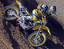 Fun Center Suzuki Team Rider Brady Sheren made his first trip to the main at the AMA Supercross West Coast Lites Series in the Bay Area, photo by TonyScavo.com