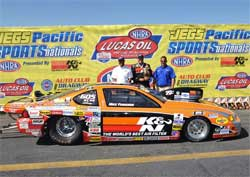 K&N Filters Pontiac Grand Am in victory lane at NHRA JEGS Pacific SPORTSnationals presented by K&N at Auto Club Dragway in Fontana, California