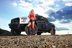 "Brian ""Bink"" Binkert's custom Ford F-150 and the beautiful Natalie Paladin"