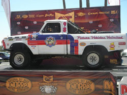 The vintage Ford and represented the Los Angeles Fire Dept. truck No.98.