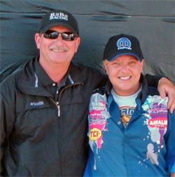 Frank Hawley of Frank Hawley's Drag Racing School and Drag Racer Kathy Fisher