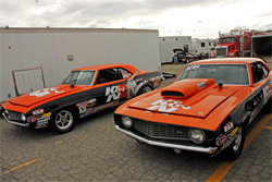 Twin 1969 Chevy Camaro race cars owned by Sportsman Class racer Dan Fletcher