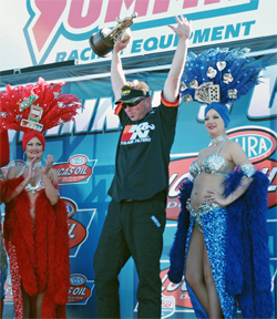 K&N Sponsored Racer Dan Fletcher celebrates his 59th NHRA National Event win at The Strip in Las Vegas