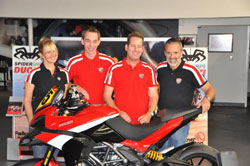 Spider Grips Ducati Team at Ducati Newport Beach for Team Introduction - riders Greg Tracy and Alexander Smith are sandwiched between owners Becca and Paul Livingston.