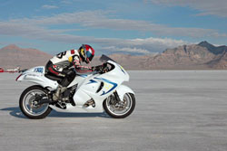 Rider/owner Paul Livingston at Bonneville on a team Hayabusa - top speed currently is 206.958 mph.